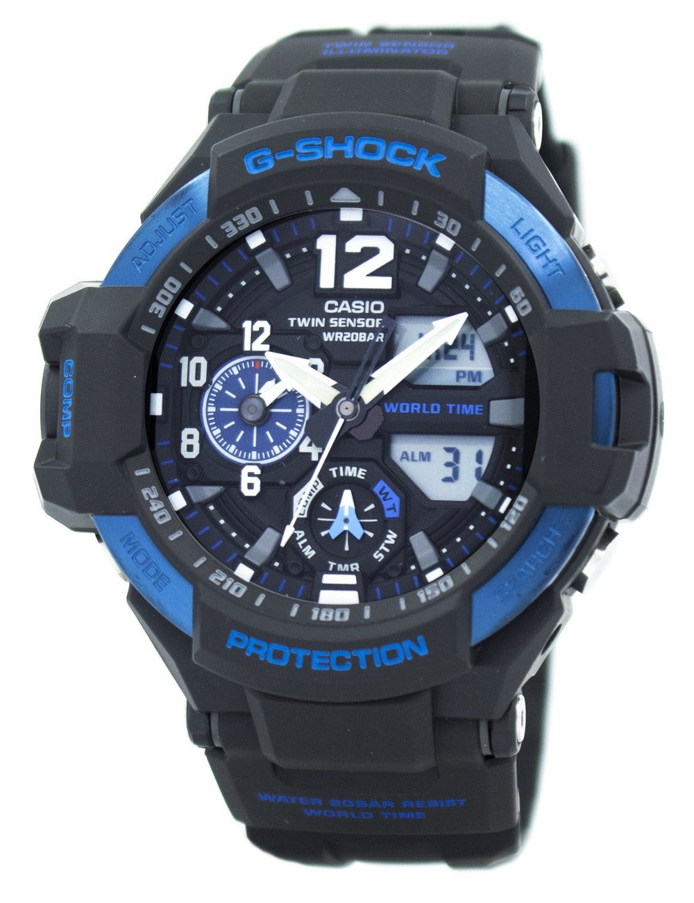 Casio G-Shock GRAVITYMASTER Twin Sensor World Time GA-1100-2B GA1100-2B Men's Watch