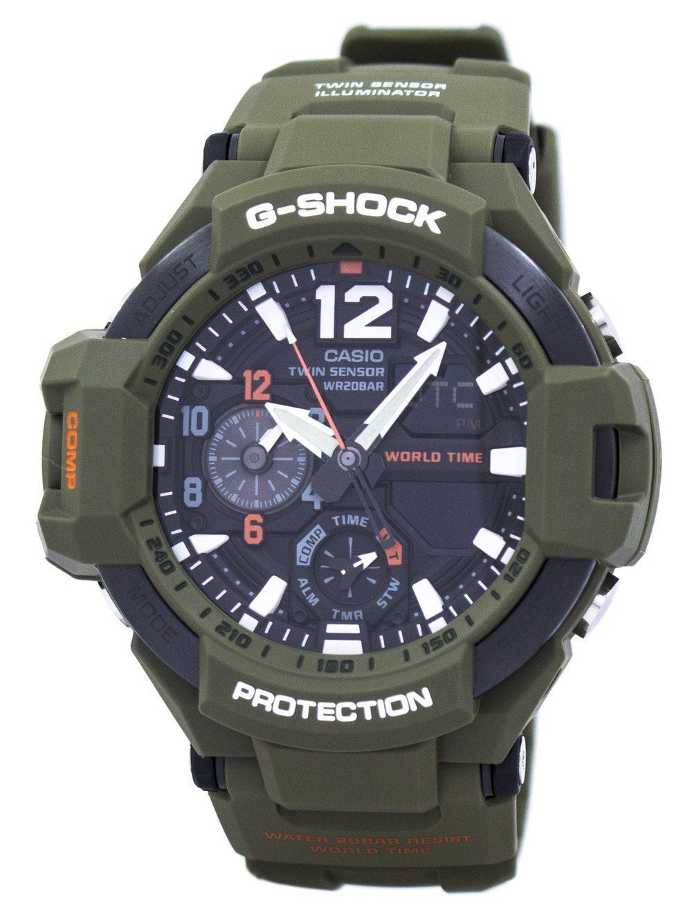 Casio G-Shock Gravitymaster Analog Digital Twin Sensor World Time GA-1100KH-3A GA1100KH-3A Men's Watch