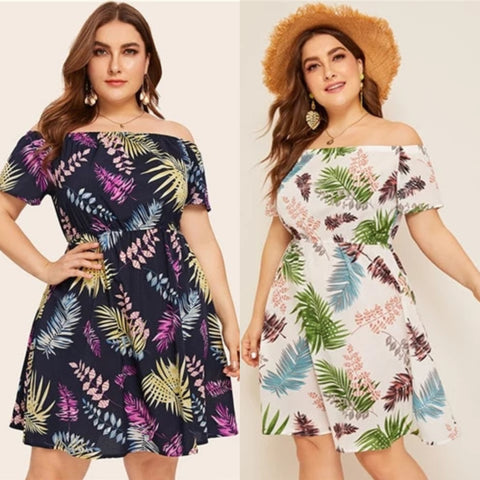 2 pcs - Plus Size Printed Off Shoulder A line Dress (Beige or Blue)