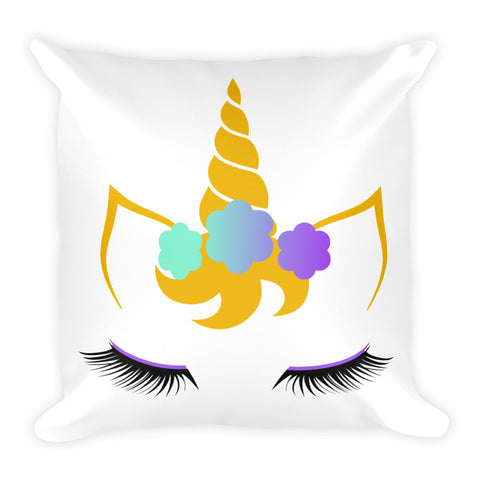 FLower Unicorn 18 x 18 Square Pillow - Double Design