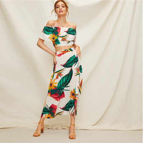 2 pcs - Tropical Off Shoulder Top & Long Skirt