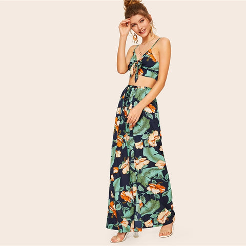2 pcs - Tropical Crop Top and Wrap Split Wide Leg Pants