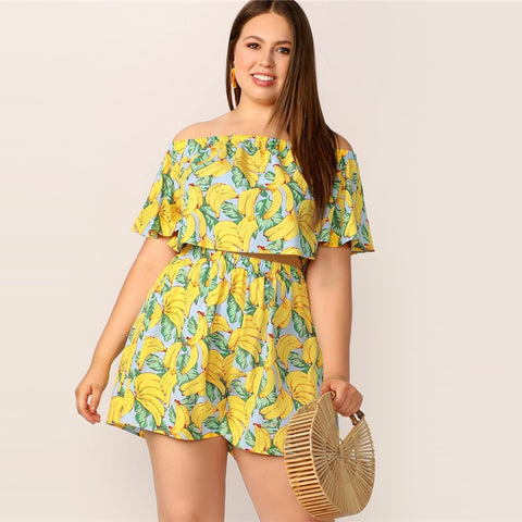 2 pcs - Off Shoulder Banana Print Flounce Sleeve Crop Top And Shorts Set