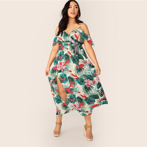 Green & Red Tropical Maxi Dress