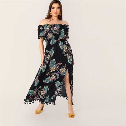 Plus Size Printed, Off Shoulder Tassel Detail Split Hem Maxi Dress
