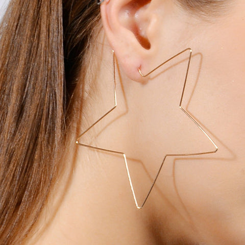 Gold Large Star Earrings