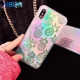 AIBOR Liquid Dynamic Quicksand Laser pineapple Mermaid Scales Glitter Shinny Phone Cases For iPhone X 7 8 plus 6 6S plus Cover