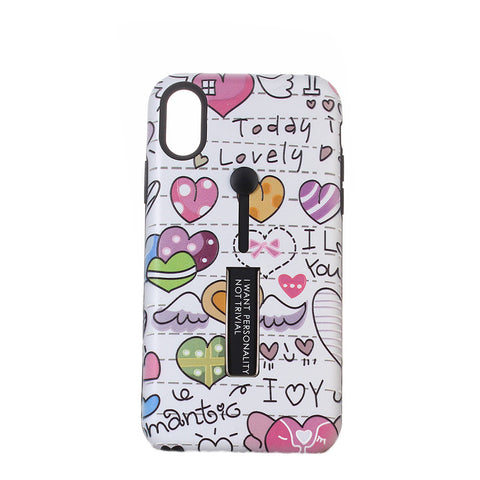 Heart Pattern Embossment Phone Case Slim Fit Hard Case Shockproof Anti-scratch Phone Cover Case with Kickstand and Rubber Strap for iPhone