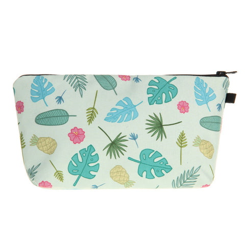 Stylish Plants Printed Multi-use Travel Organizer Small Zipper Cosmetic Storage Bag Makeup Pouch