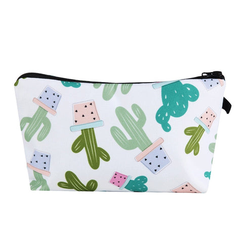 Stylish Cactus Printed Multi-use Travel Organizer Small Zipper Cosmetic Storage Bag Makeup Pouch