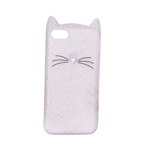 4.7 Inch Soft Phone Cover Glitter Cartoon Beard Cat Phone Shell Silicone Case for iPhone 6s (White)