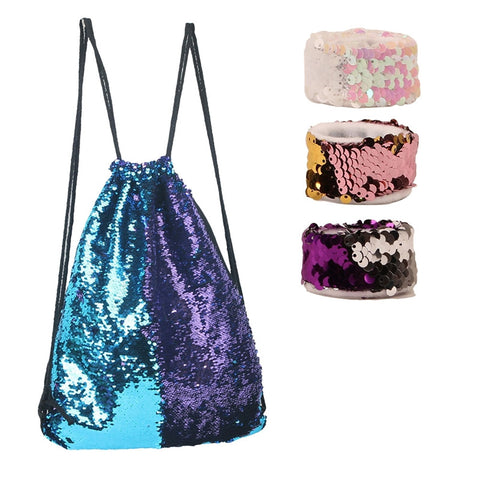4pcs Mermaid Sequin Drawstring Backpack with Bracelets