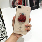 3D Glitter stars Red Wine Glass Red Lips Liquid Quicksand Transparent Phone Case Cover For iPhone X XS MAX XR 5 SE 6 6S 7 8 PLUS