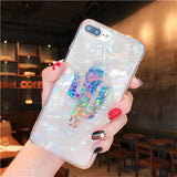 Holo Phone Case For iPhone X 7 8 6 6S Plus Shockproof Hybrid TPU Bling Glitter Fruit Plant Pattern Pineapple Cactus Case Cover