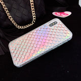 Bling Liquid Dynamic Quicksand Laser Mermaid fish Scales Glitter Shinny Phone Cases For iPhone X XS 7 8 plus 6 6S plus Cover
