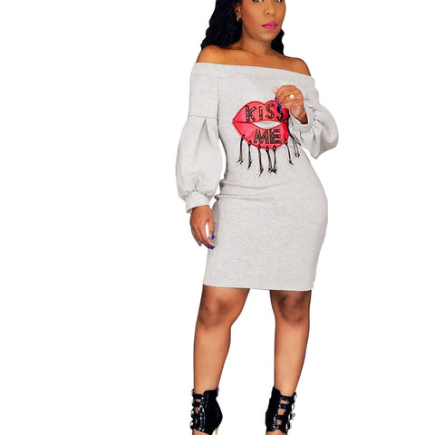 Off Shoulder Lips Kiss Me Text Dress for Women