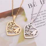 Mother & Son Heart Pendant Necklace - Set of 1