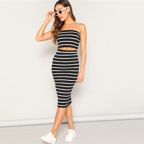 2 pcs - Bandeau & Pencil Skirt (Black, Gray or Pink)