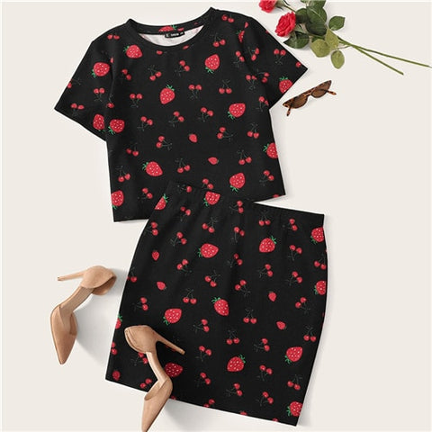 2 pcs - Strawberry & Cherry Crop top & Skirt