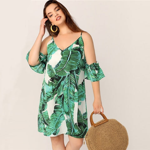 Plus Size Green Tropical Print Midi Dress