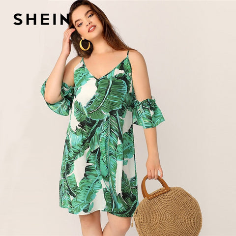 SHEIN Plus Size Green Tropical Print Cold Shoulder Tunic Summer Dress Women Boho Beach Vacation V Neck Straight Loose Midi Dress