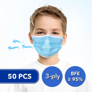 50 Pcs Disposable 3-ply Non-Woven Fabric Face Masks for Kids (BFE≥95%)