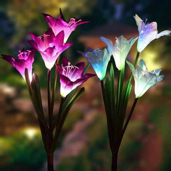 2 Pcs Solar Powered LED Flower Stake Set