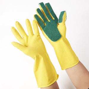 Dish Washing Cleaning Gloves with Scouring Pad (2pairs)