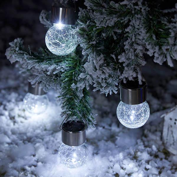 XMAS 3 Pcs Solar Powered Cracked Glass Light Bulb Set