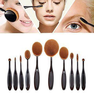 10 Pcs Professional Oval Makeup Brush Set - Designed for Your Curved Face