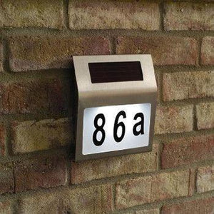 Solar-Powered LED Stainless Steel Address Doorplate