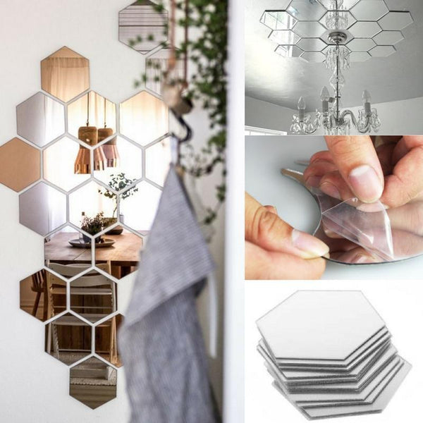 12 Pcs Hexagonal Shape Self-Adhesive Mirror Stickers - DIY Your Home! - Next Deal Shop  - 1