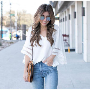 V Neck Flared Sleeves Blouse