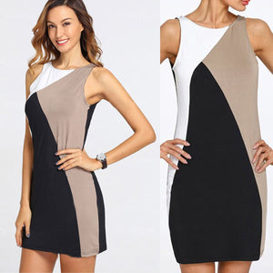 Tricolor High Neck Shift Dress