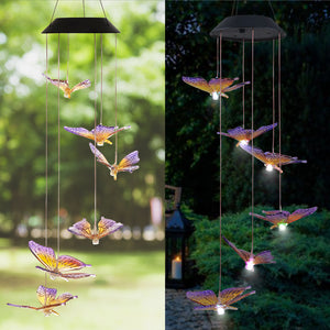 Solar-Powered Dangling Butterfly Lights