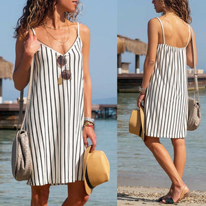 Casual Striped V-Neck Cami Dress