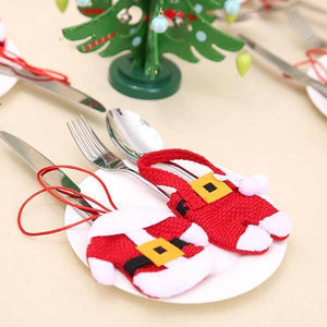 4 Pcs Santa Suit Cutlery Holder