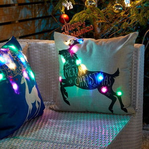 4pc Christmas Reindeer Light Up Cushion Cover