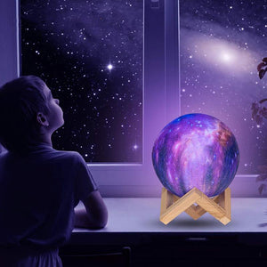 Color Changing 3D Galaxy Light Set (w/ Wooden Stand)