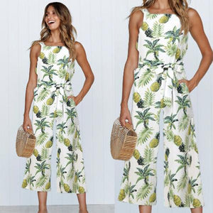 Pineapple Print Sleeveless Wide Leg Jumpsuit