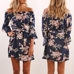 Flirty Floral Off Shoulder Mini Dress