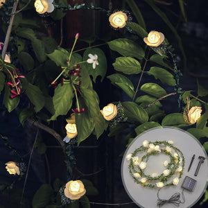 Solar-Powered Rose Leaf Lights