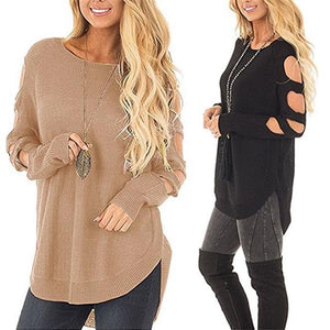 Cut Out Sleeve Knit Sweater