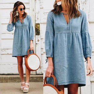 Denim Baby-Doll Mini Dress