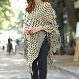 Double Layer Knit Poncho