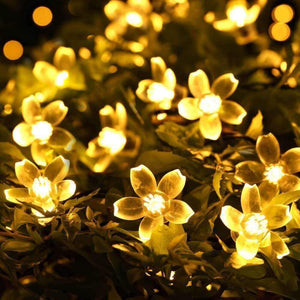Solar-Powered Warm-White Blossom Flower String Lights