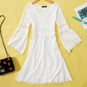 Long Sleeve Lace Dress in White