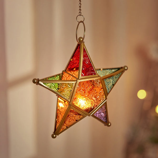 Moroccan Iron Glass Star Lantern-Next Deal Shop-Next Deal Shop