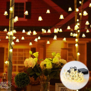 Solar-Powered Warm-White Jingle Bell String Lights
