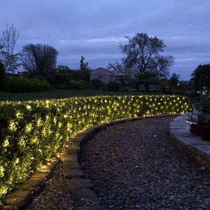Solar-Powered Warm-White LED Twinkle Net Lights (240 LEDs)